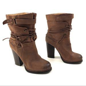 NINE WEST Vakelsbelle Leather Pull On Boots